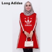 LONG ADIDAS MERAH DRESS / HIJAU /BLOUSE / TOP / ATASAN / KOREA OOTD - Merah