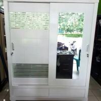 Lemari kayu , lemari baju 2 pintu sliding jumbo bloktiek putih duco