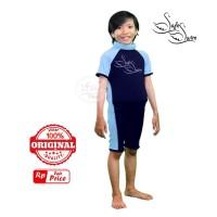 Baju Renang Mengapung Safeswim Lengan Pendek Biru Navy