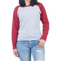 Baju WANITA Kaos Polos Lengan Panjang Raglan Kaos Wanita Murah