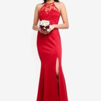 Bridesmaid Lace Overlay Mermaid Dress