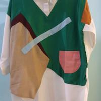 Harga oline workrobe 2tone shirt lite green f | Pembandingharga.com