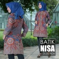 Harga baju batik blouse tunik atasan wanita bunga biru katun cap | Pembandingharga.com