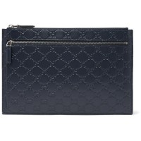 GUCCI AVEL LOGO EMBOSSED NAVY LEATHER CLUTCH ORIGINAL   CLUTCH GUCCI