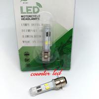 Lampu Utama LED Motor Socket H6 RTD 4 SISI Bebek Matic Skutik