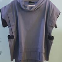 Harga oline workrobe high collar pocketed top denim f | Pembandingharga.com