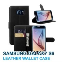 Samsung Galaxy S6 FLAT Wallet Premium Flip Cover Card Case Leather