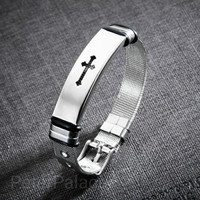 Gelang Bangle Cross Adjustable Stainless