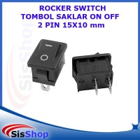 ROCKER SWITCH TOMBOL SAKLAR ON OFF 2 PIN 15X10 15*10 MM 6A 250V HITAM