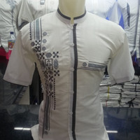 REAL PICT. Baju Koko Putih Motif Lengan Pendek. Al-Ihsan
