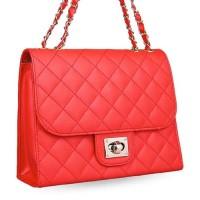 tas pundak wanita shoulder bag cewek merah tali besi motif kota bta248