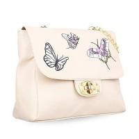 tas selempang wanita sling bag cewek creme print kupu-kupu bta271