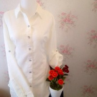 Hot - Kemeja Blus Putih Wanita Polos Zara Lembut Jumbo