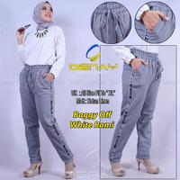 Celana pants panjang wanita mode baggy off white rami.