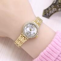 Jam Tangan Wanita / Cewek Rolex Ladies Star Rantai Gold White