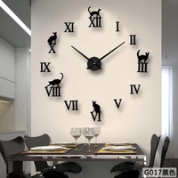 G017 DIY CLOCK JAM DINDING ROMAWI CAT