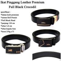 Ikat pinggang Pria Leather Premium Full Black CROCODIL