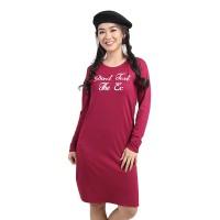 Lemone - Baju Dress Kaos Wanita Premium 611SS601229 Marun