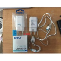 BOLT Travell Charger 2.1A 1usb plus kabel 3 in 1 micro-typeC-Iphone5