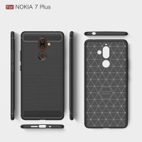 Softcase Carbon Fiber Armor Case Cover Casing HP Nokia 7 Plus 2018