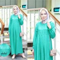 5599 gamis mutiara toska tosca pearl dress busui resleting depan murah