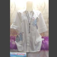 Kemeja / Shirt / Wanita / Cewek / Motif Bunga Putih