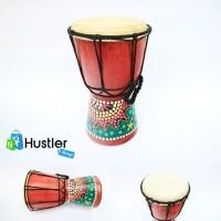 Alat Musik Tradisional Jimbe Kulit Sapi Asli dan Kayu Motif Ukuran S