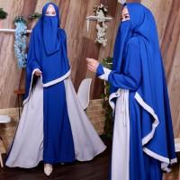 NAVY Gamis Set Wollycrepe Mix Warna Cadar Syari Baju Busana Muslimah