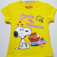 Baju kaos karakter anak perempuan snoopy kuning 7-10