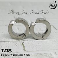 Anting Jepit Bulat Tanpa Tindik Perhiasan Titanium Stainless Steel TA8