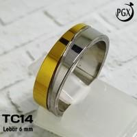 Cincin Couple Emas Silver - Perhiasan Titanium Stainless Steel - TC14