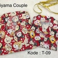 piyama couple ibu dan anak motif tsum tsum / baju tidur kembar motif