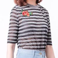 Jual kaos army crop tees tee atasan tshirt oblong tumblr print wanita