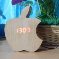jam meja kayu / jam meja / jam meja motif appel
