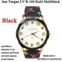 Jam wanita Jam Tangan LV MultiBlack kulit b - 166 Full set - Hitam