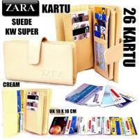 DOMPET KARTU CARD ZARA WANITA KW SUPER CREAM (26 KARTU) - Beige