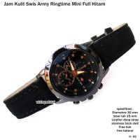 Jam wanita jam tangan kulit swis army ringtime mini hitam full set