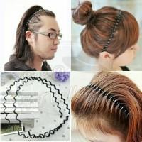 Hairband Pria dan Wanita Dewasa Bahan Metal Black Wavy Hair Hoop thumbnail