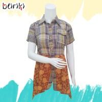 SALE!! BW86 Dress Asimetris Kombinasi Batik Lengan Pendek Wanita Murah
