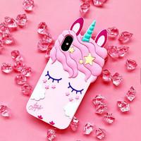 Casing Hp Iphone X Silicon 3D kartun Cute Pink Unicorn Fashion