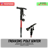 Trekking Pole Tongkat Pendaki + Senter Handle Grip Anti Shock