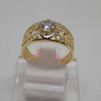 Cincin emas cewek/wanita/model ring lebar mata satu/emas kadar 375%