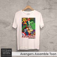 OceanSeven Kaos Distro Avengers Assamble Toon Baju Pria T-Shirt Wanita