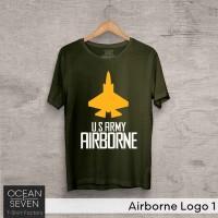 OceanSeven Kaos Distro Airborne Logo 1 Baju Pria T-Shirt Wanita