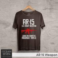 OceanSeven Kaos Distro AR 15 Weapon Baju Pria T-Shirt Wanita