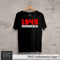 OceanSeven Kaos Distro 1945 indonesia logo 1 Baju Pria T-Shirt Wanita