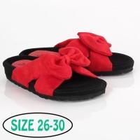 PROMO Sandal Selop Anak Perempuan Pita Merah Hitam Original