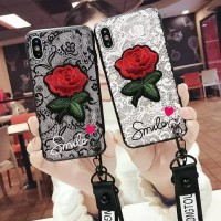 Case Samsung J4 J6 - J7 Prime Rose Flower 3D With Strap Original