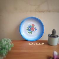Nampan /Baki Enamel 25cm Motif Kembang Blek Seng Kaleng Jadul Vintage