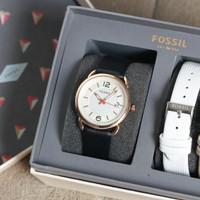 Jam tangan cewek wanita Fossil strap kulit free box untuk kado ultah